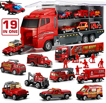 19 in 1 Fire Truck with Firefighter Toy Set, Mini Die cast Fire Engine Car in Carrier Truck, Mini Rescue Emergency Double Side Transport Vehicle for