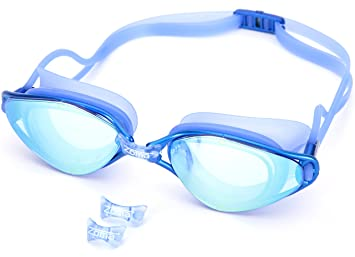 f8abd57a169 Swimming Goggles with Anti Fog and Adjustable Nose Piece - UV Protection  Mirror Lenses for Kids
