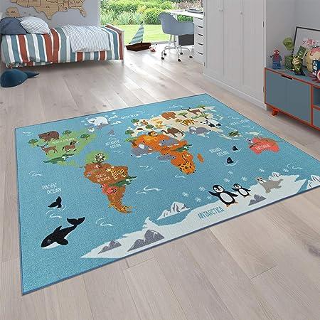 Paco Home Alfombra Infantil, Alfombra de Juego para Habitaciones Infantiles, Mapa del Mundo con Animales, En Verde, tamaño:140x200 cm: Amazon.es: Hogar