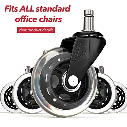 Office Chair Wheels Replacement Rubber Chair Casters For Hardwood Floors  And Carpet, Set Of 5
