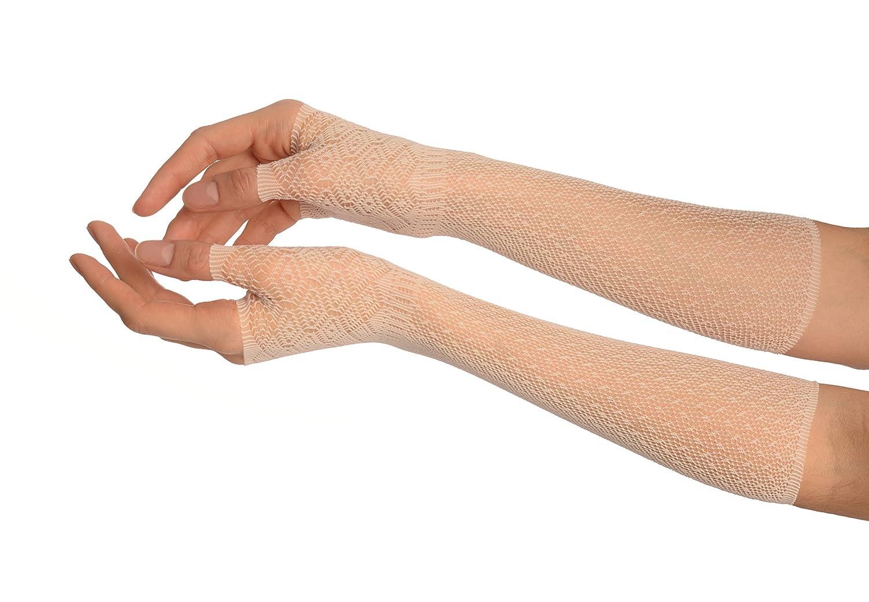 Cream Stretchy Crochet Lace Fingerless Evening Gloves - Gloves GL002706