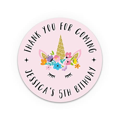 Unicorn party bags stickers personalised thank you unicorn stickers purple birthday stickers personalised