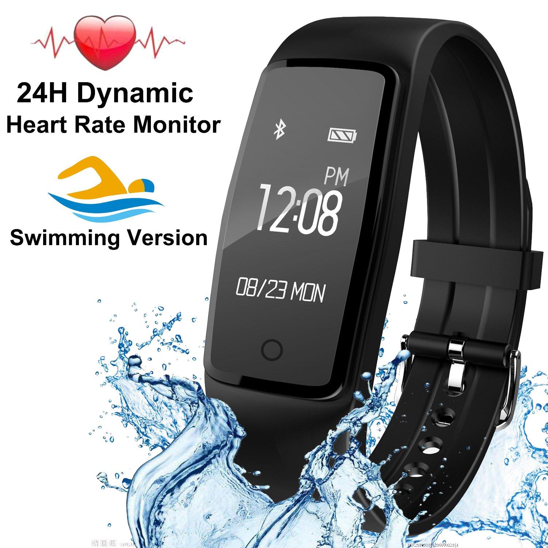 Fitness Tracker con 24 horas Monitor de frecuencia cardiaca, USB Batería reloj inteligente banda con música Control de la cámara pantalla táctil Actividad ...
