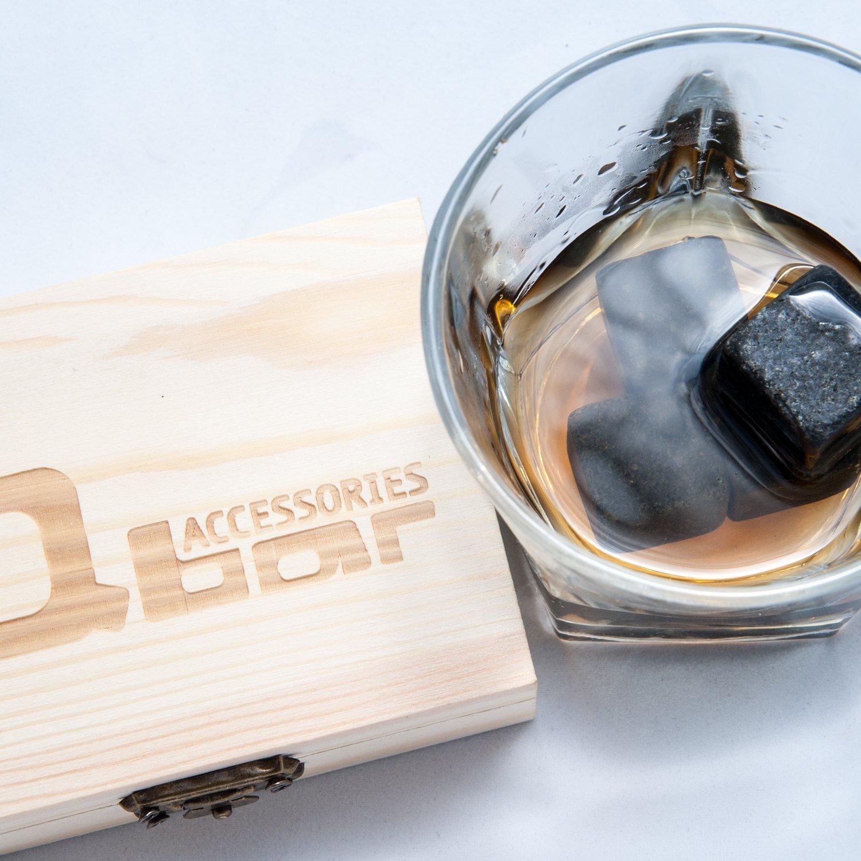 Amazon.com: Q bar Accessories Whiskey Stones - Gift box w' 9 black Basalt  Cube Chilling Rocks - Velvet Storage Pouch - Liquor and Wine Cooler - No  More ...