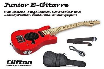 Guitarra eléctrica Junior Clifton con amplificador integrado y altavoz, bolsa y correa: Amazon.es: Instrumentos musicales