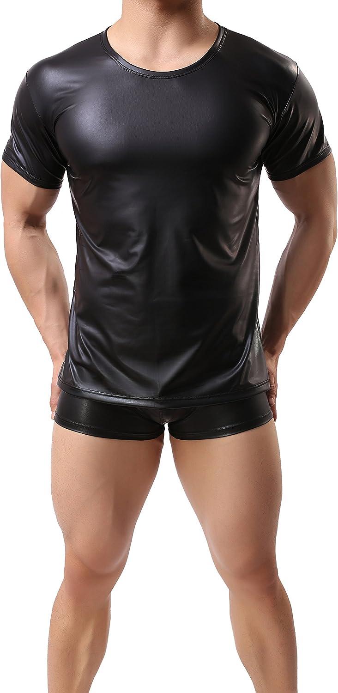ONEFIT Men Black Wet Look Short T-Shirt Faux Leather Nightwear Tops Undershirt