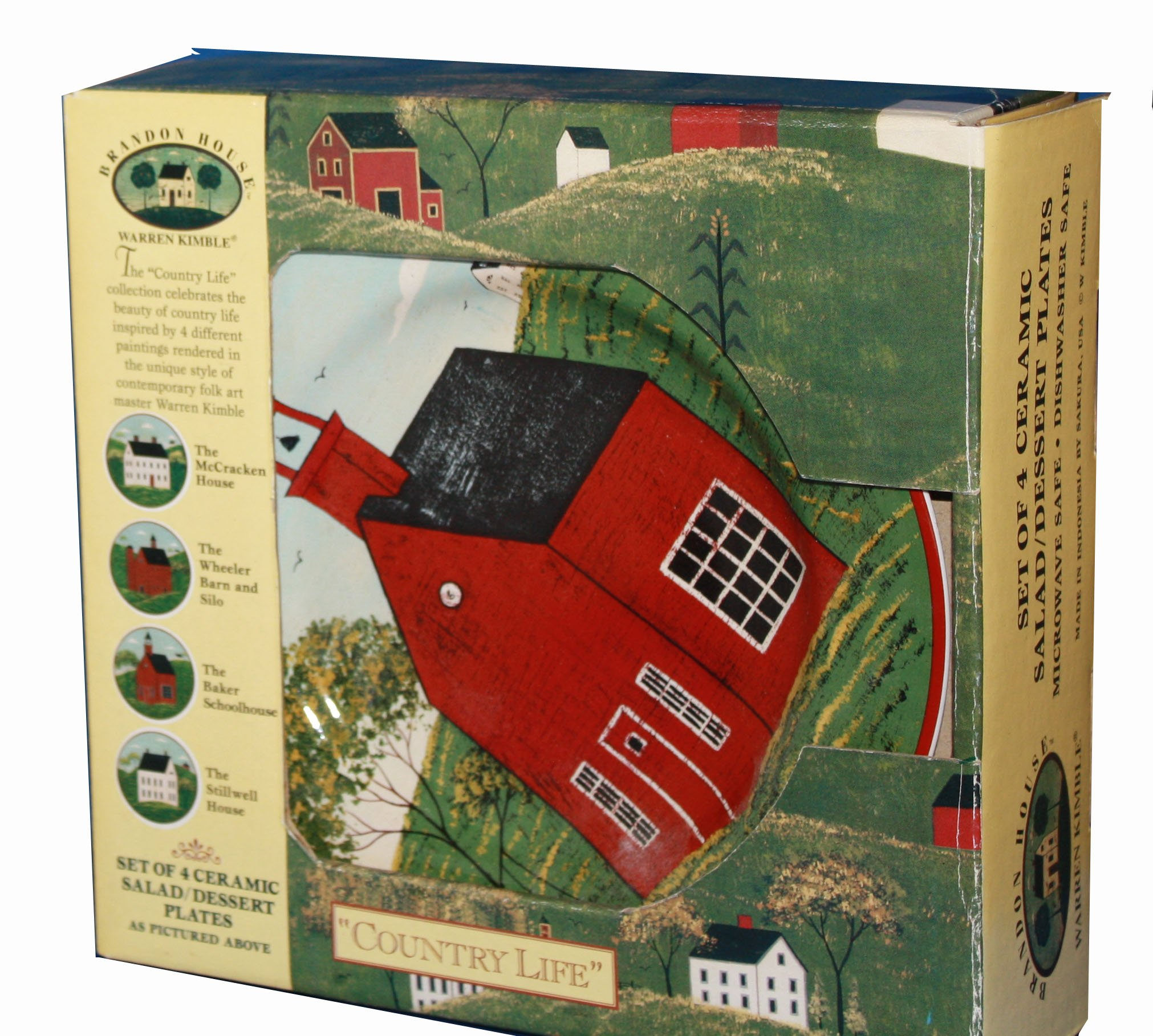 Brandon House by Folk Art Master Warren Kimble - Country Life Cereamic Salad Plates Set of Four Plates Featuring Historic Homes Including the McCracken House Dating back to 1789, The Wheeler Barn and Silo in Vermont, The Baker Schoolhouse and the Stillwel