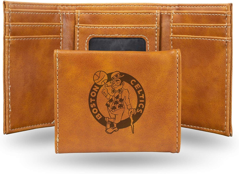 Boston Celtics NBA Rico Industries  Laser Engraved Trifold Wallet