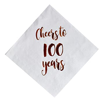 7e340c2a18ecc MAGJUCHE Cheers to 100 Years Cocktail Napkins, 50-Pack 3ply White Rose Gold  100th