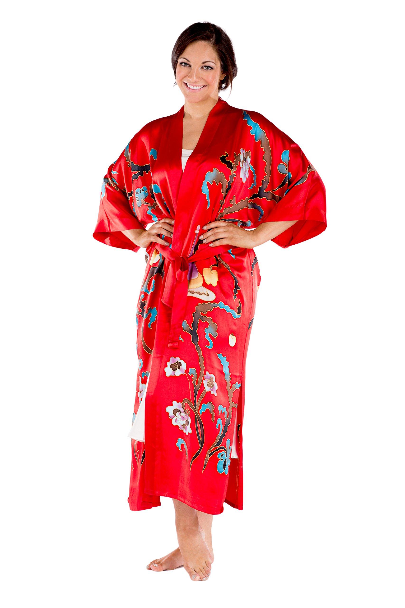 Women's Luxury Silk Kimono Robe - Beautiful Gift Ideas by TexereSilk (Graza, Venetian Red, Small/Medium) Great Gifts for Women WS0104-VRD-SM