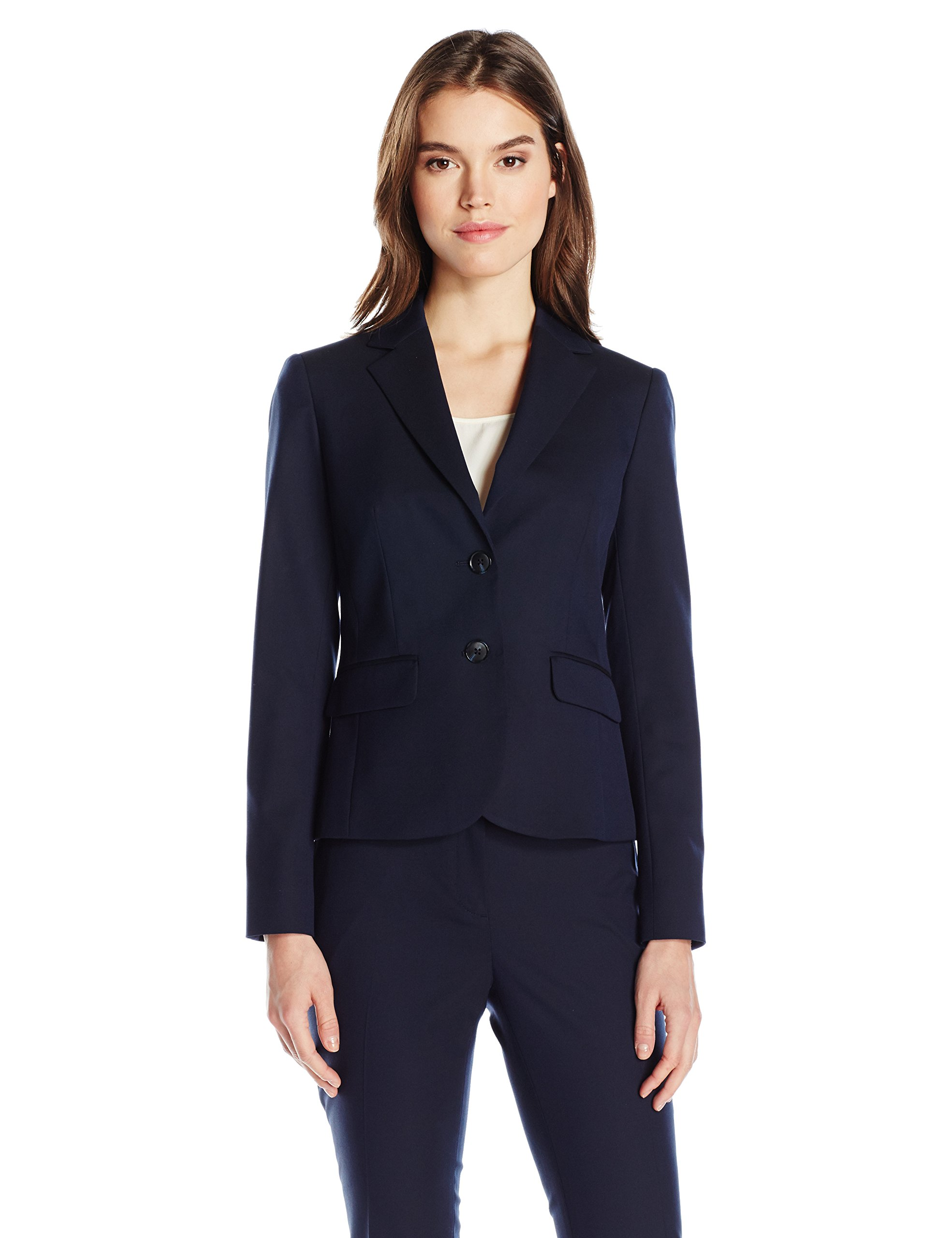 Jones New York Women's Washable Suiting Short 2 Btn Jacket, Navy, 14