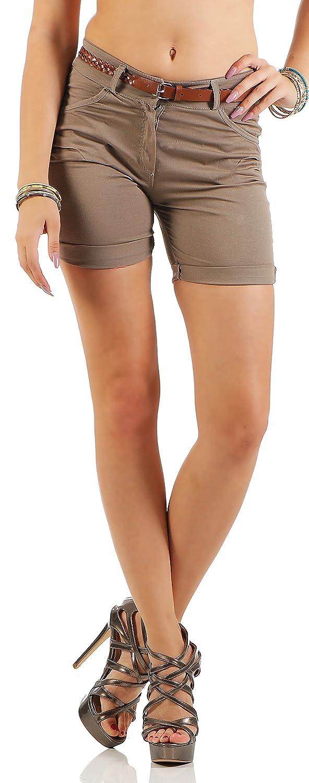Malito Damen Kurze Hose in Unifarben   lässige Chino Shorts mit Gürtel   Bermuda für Den Strand   Pants - Hotpants 1018