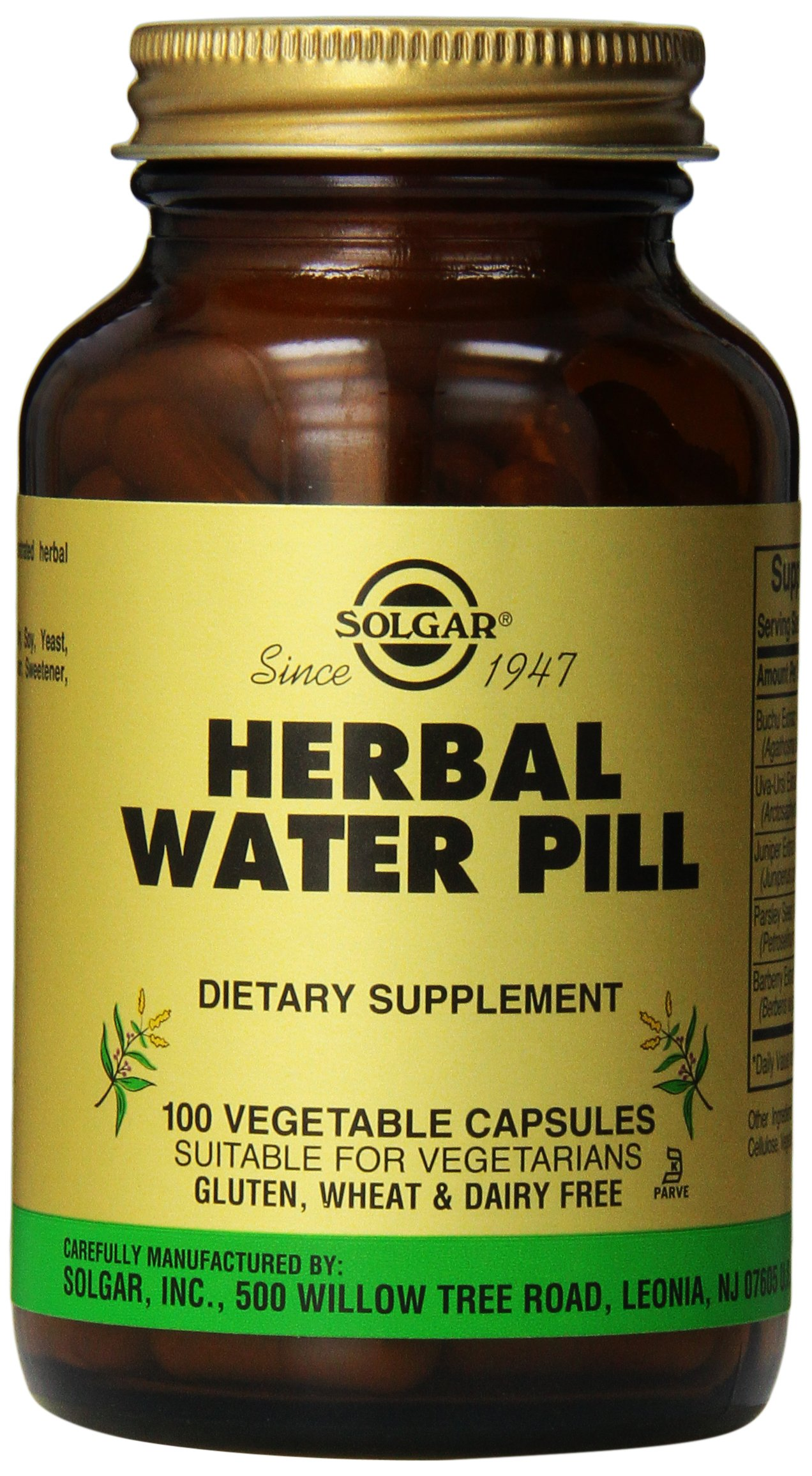 Solgar Herbal Water Pill Vegetable Capsules, 100 Count by Solgar