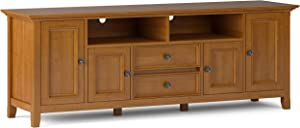 SIMPLIHOME Amherst SOLID WOOD 72 inch Wide Transitional TV Media Stand in Light Golden Brown For TVs up to 80 inches