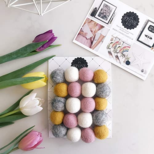 Felt Ball Pom Garland In Mustard Pink Grey White By Stone And Co Amazon Co Uk Handmade