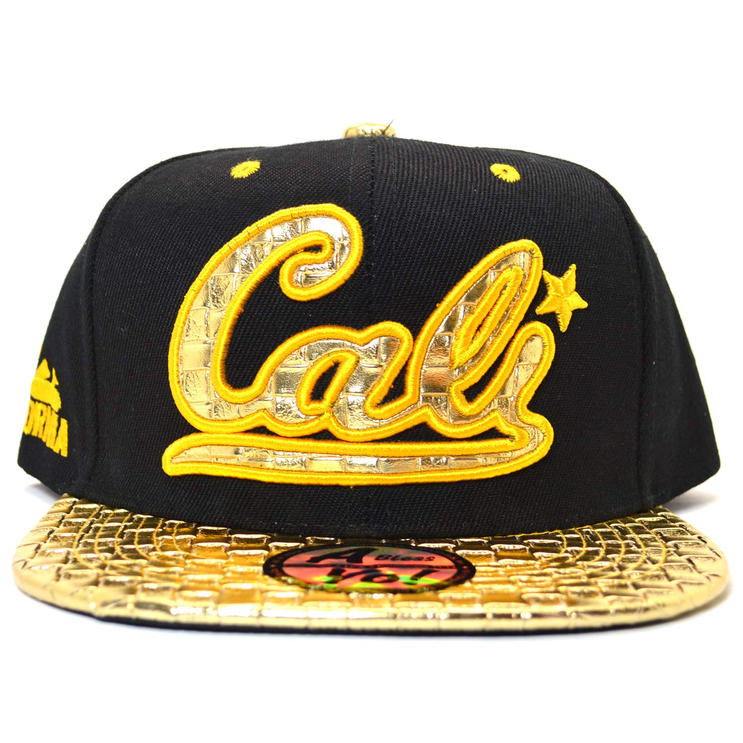 AblessYo Gold Bling California Republic Bear Flat Bill Visor Snapback Baseball Cap AYO6048