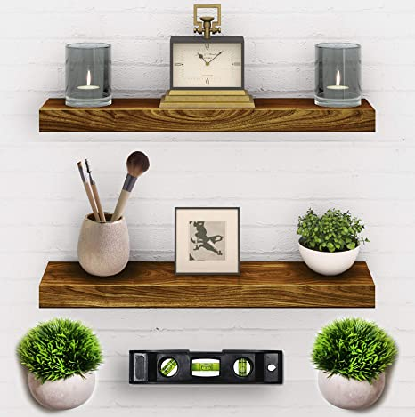 Amazon Com 2 Set Floating Shelves Real Wood Mounted Wall Shelf Kitchen Bathroom Bedroom Bedrooms Living Room 24in X 5 5in X 1 5in Hanging Shelf Paulownia W Walnut Finish Mounts And Level Tool Included