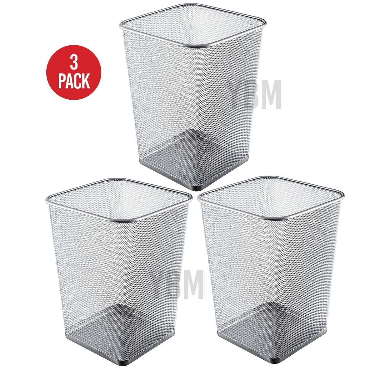 Ybmhome Steel Mesh Square Open Top Waste Basket Bin Trash Can for Office Home 2487-3 (3, 5 Gallon)