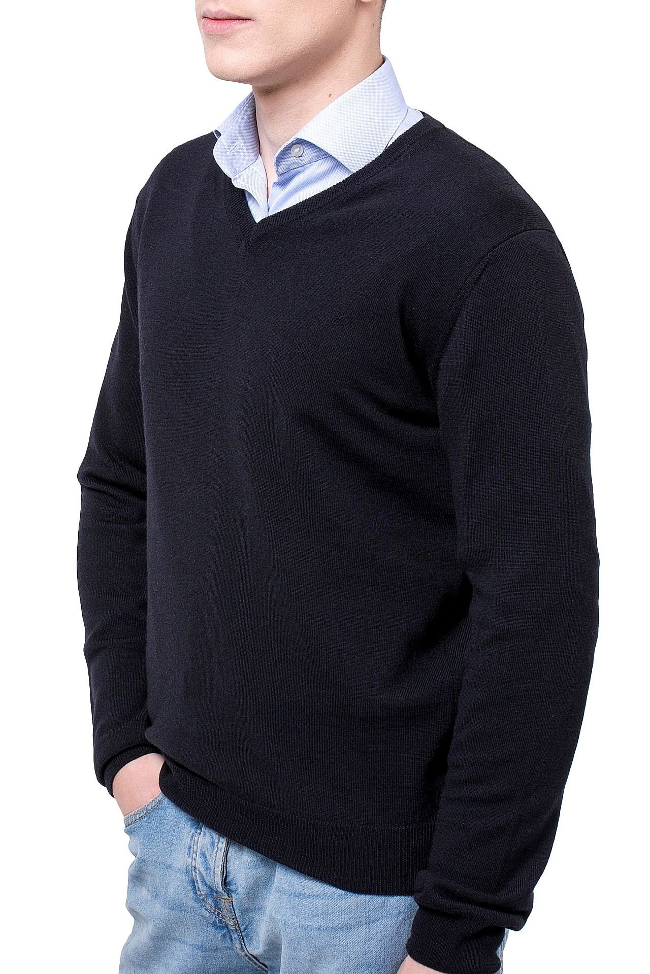 KNITTONS Men's 100% Merino Wool Extra Fine Classic V-Neck Sweater Long Sleeve Pullover (X-Large, Black)