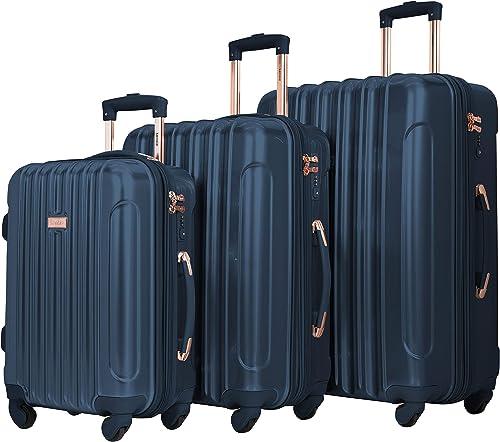 kensie 3 Piece Alma Light Metallic Style TSA-Lock Spinner Luggage Set, Midnight Blue Option