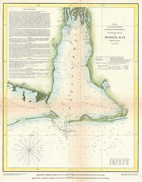 Amazon.com: Historical 1851 U.S. Coast Survey Map or Chart ...