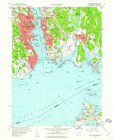 Topographic Map London.Amazon Com Yellowmaps New London Ct Topo Map 1 24000 Scale 7 5 X