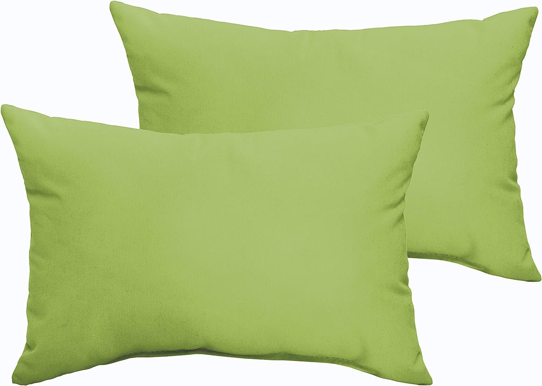 Mozaic Company AZPS7563 Indoor Outdoor Lumbar Pillows, Set of 2, 12 x 18, Apple Green