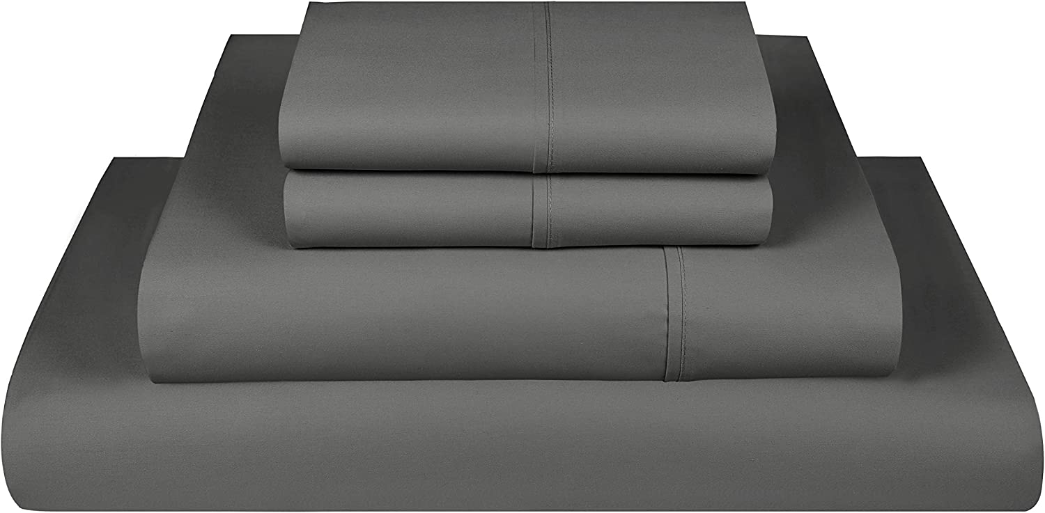 Threadmill Home Linen 800 Thread Count 100% Extra-Long Staple Cotton Sheet Set,California King Sheets, Luxury Bedding, California King 4 Piece Set, Smooth Sateen Weave, Elephant Grey