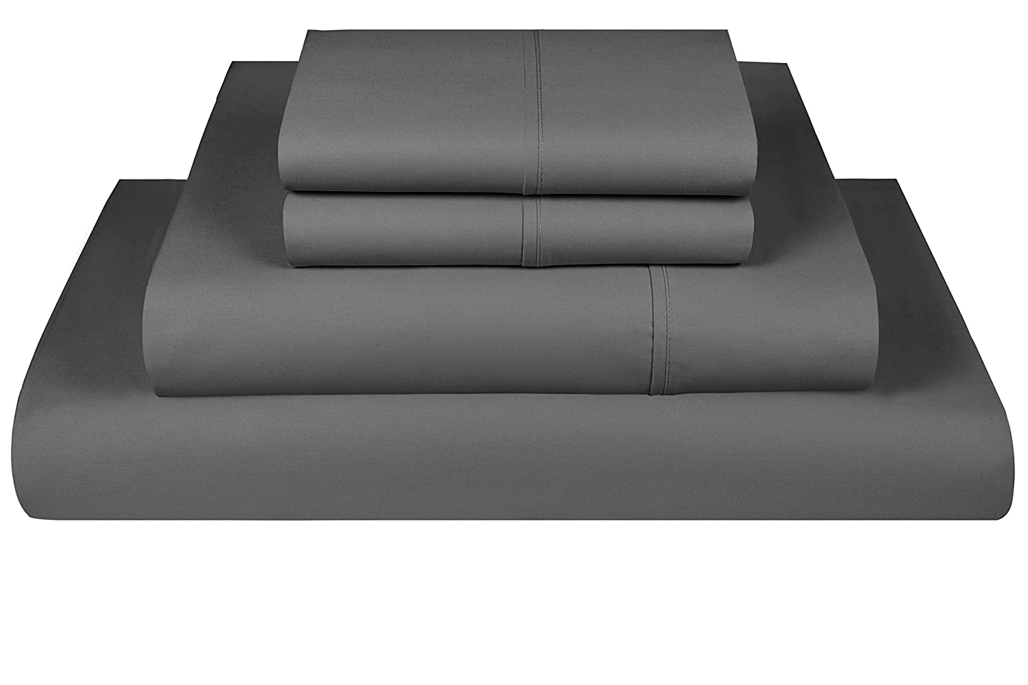 Threadmill Home Linen 600 Thread Count 100% Cotton Sheets, Dark Grey Cotton Twin XL Sheets 3 Piece Set, ELS Cotton Bedsheets, Soft & Silky Sateen Weave Fits Mattress Up to 17'' Deep Pocket