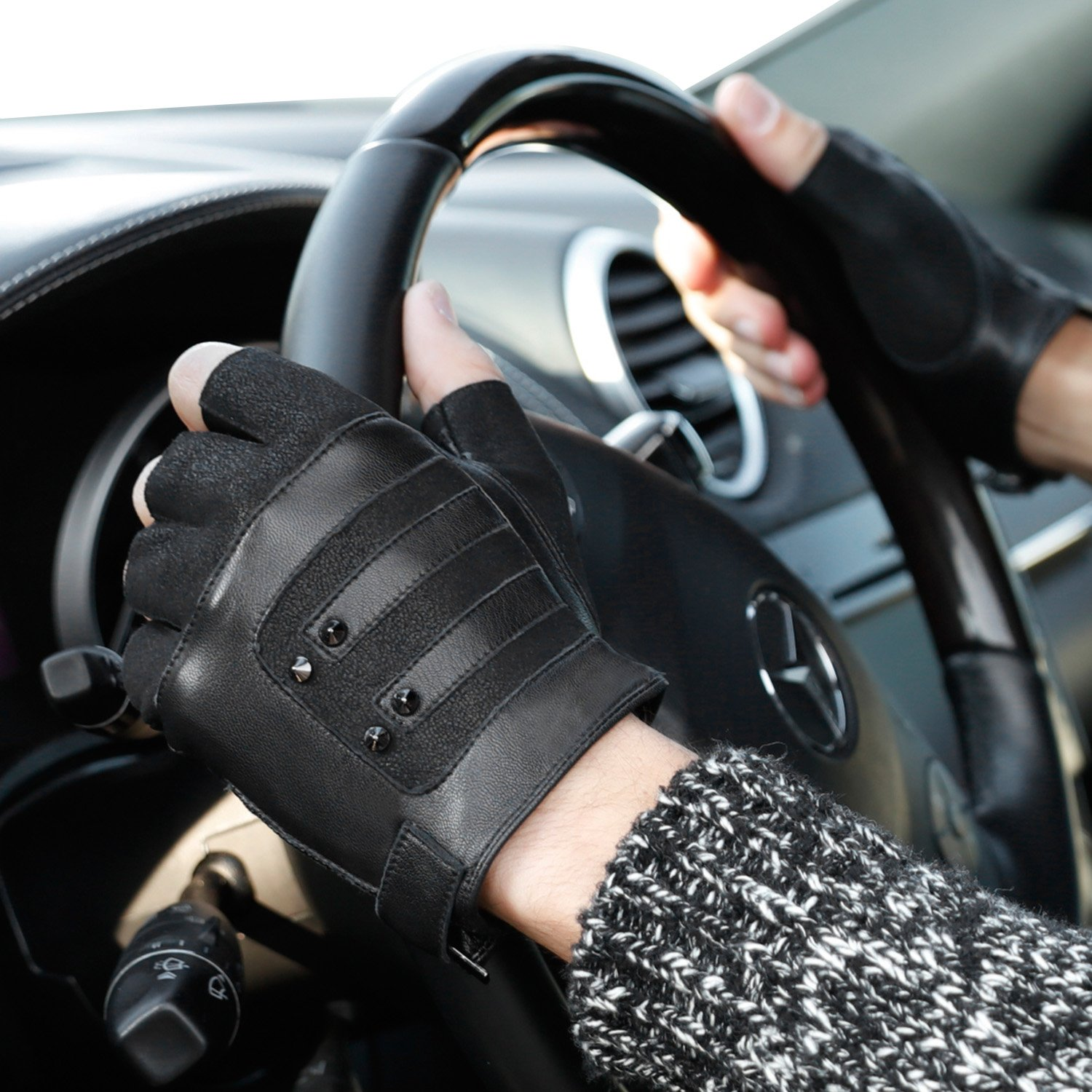 Fioretto 10% OFF Gifts 2018 Mens Fingerless Gloves Italian Genuine Goatskin Leather Half Finger Men Driving Leather Gloves Unlined with Rivets Punk Rock Style Black 10.5