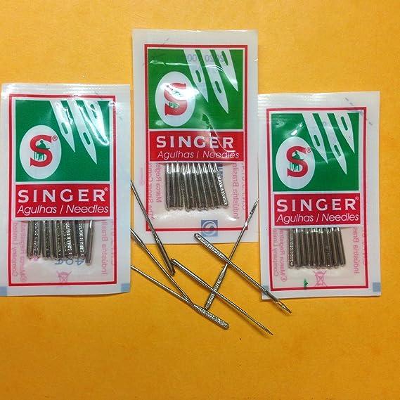 3 lotes de 10 agujas para máquina de coser doméstica, marca Singer, tamaños 14, 16 y 18: Amazon.es: Hogar