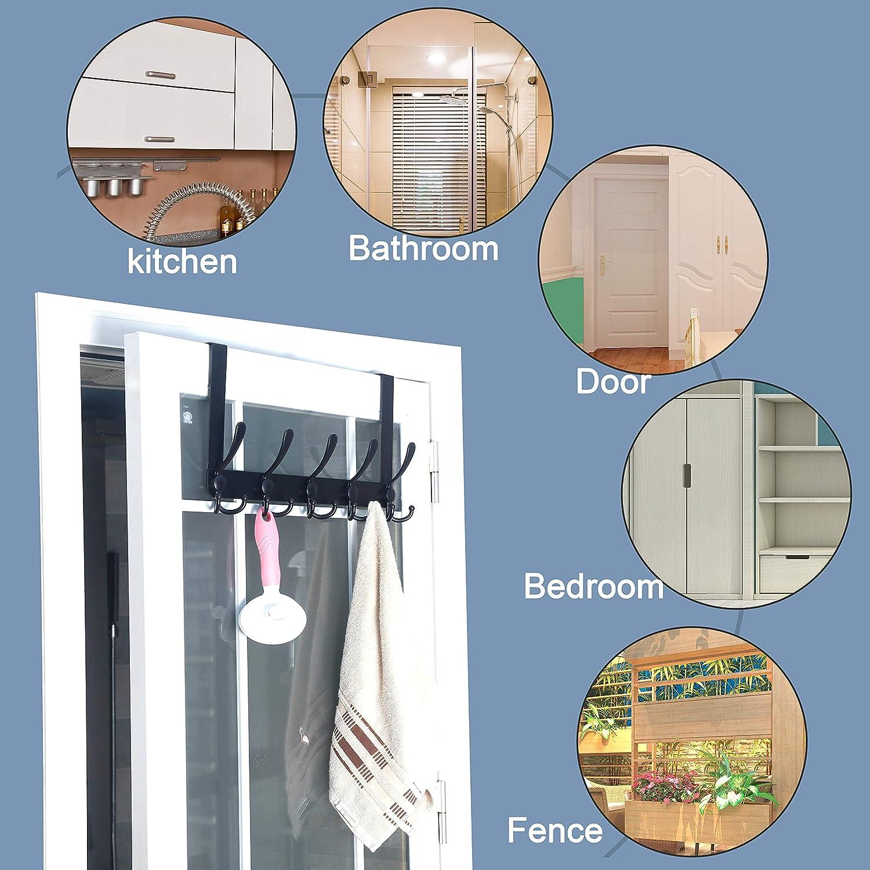 Over Door Hanger for Bathroom Bedroom Chrome SKOLOO Over The Door Hook 5 Tri Hooks Stainless Steel Heavy Duty Over Door Hook for Hanging Coats Clothes Towels