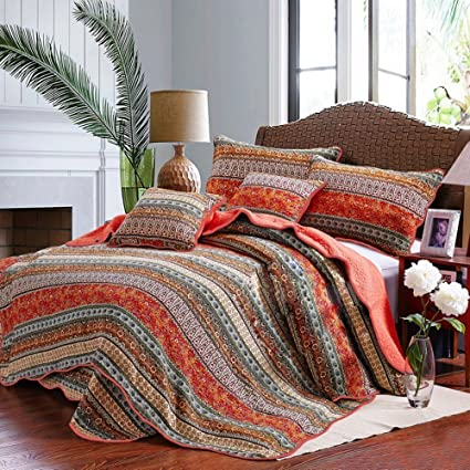 Floral Striped Quilt Coverlet Set King Luxury Boho Style Girls Quilt  Bedspread Set 100% Cotton
