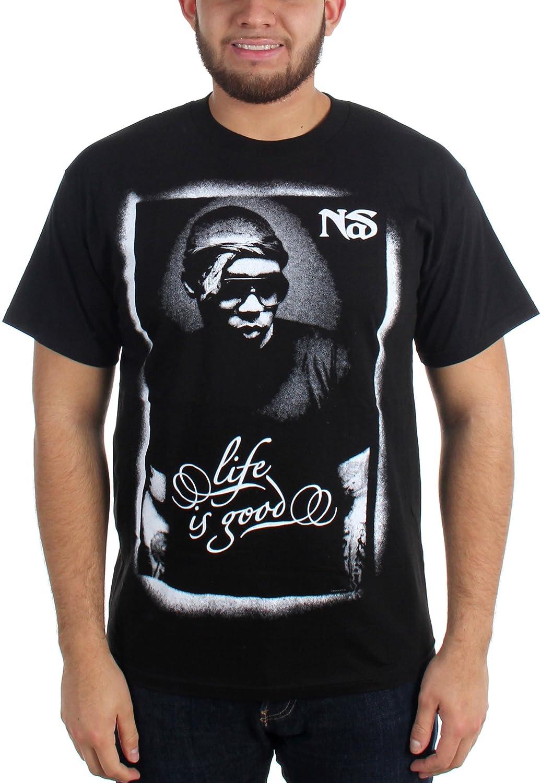 Nas - Mens Posterized B&W T-Shirt in Black