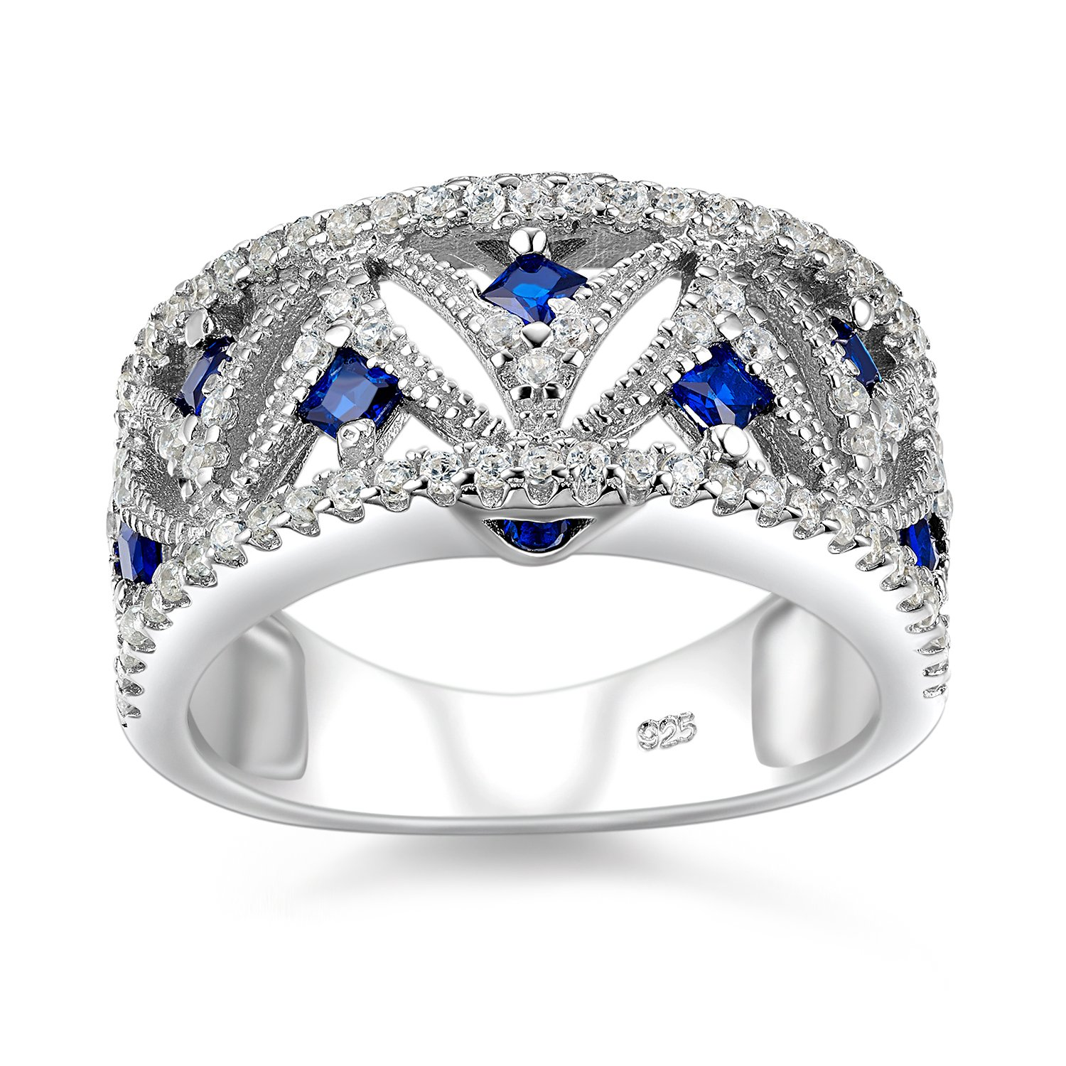 Newshe 1.1Ct Created Blue Sapphire White Cz 925 Sterling Silver Eternity Gemstone Ring Size 6