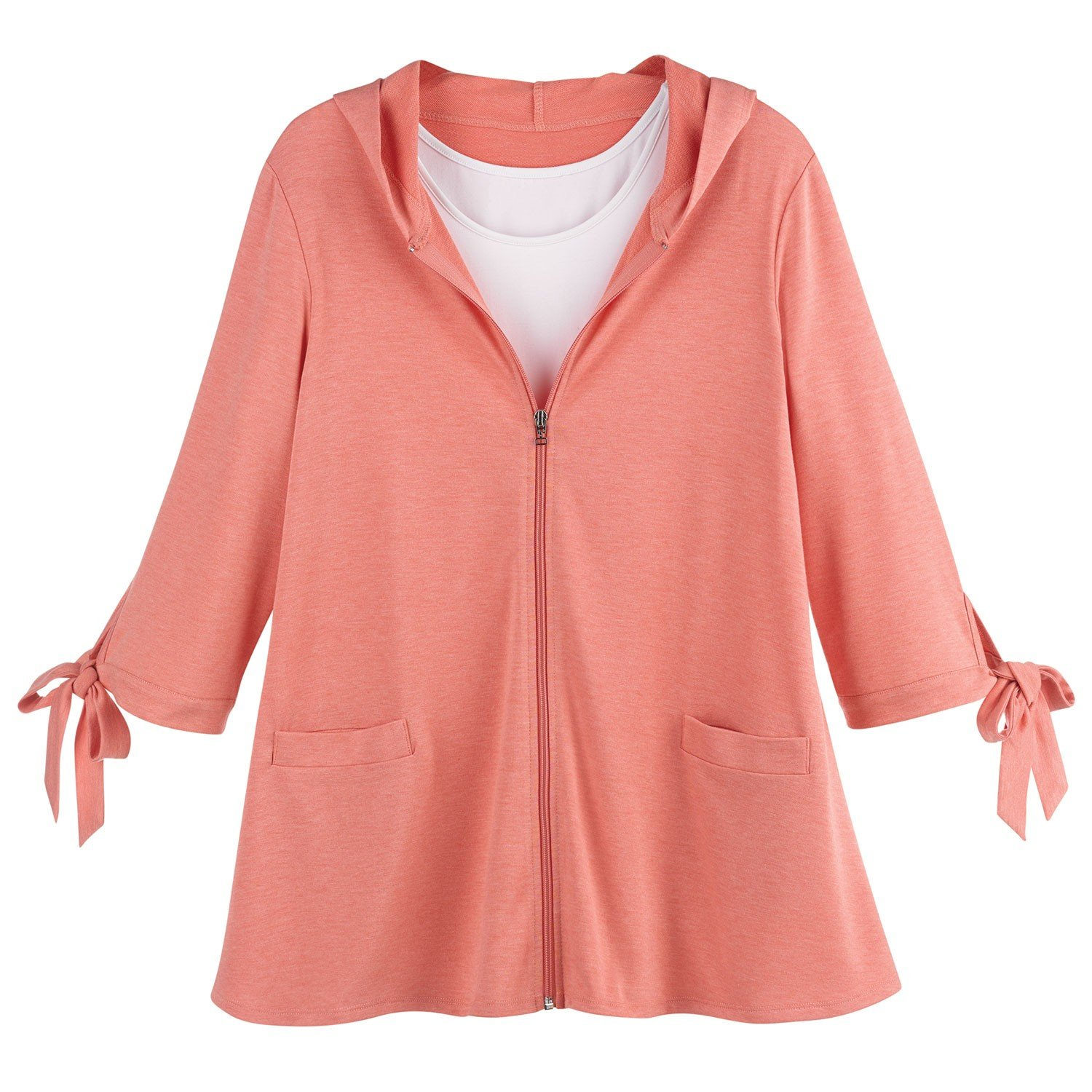 Ahh By Rhonda Shear Women's Zippered Swing Jacket - Tie Cuff 3/4 Sleeve Hoodie - Coral - Large by Ahh By Rhonda Shear (Image #2)