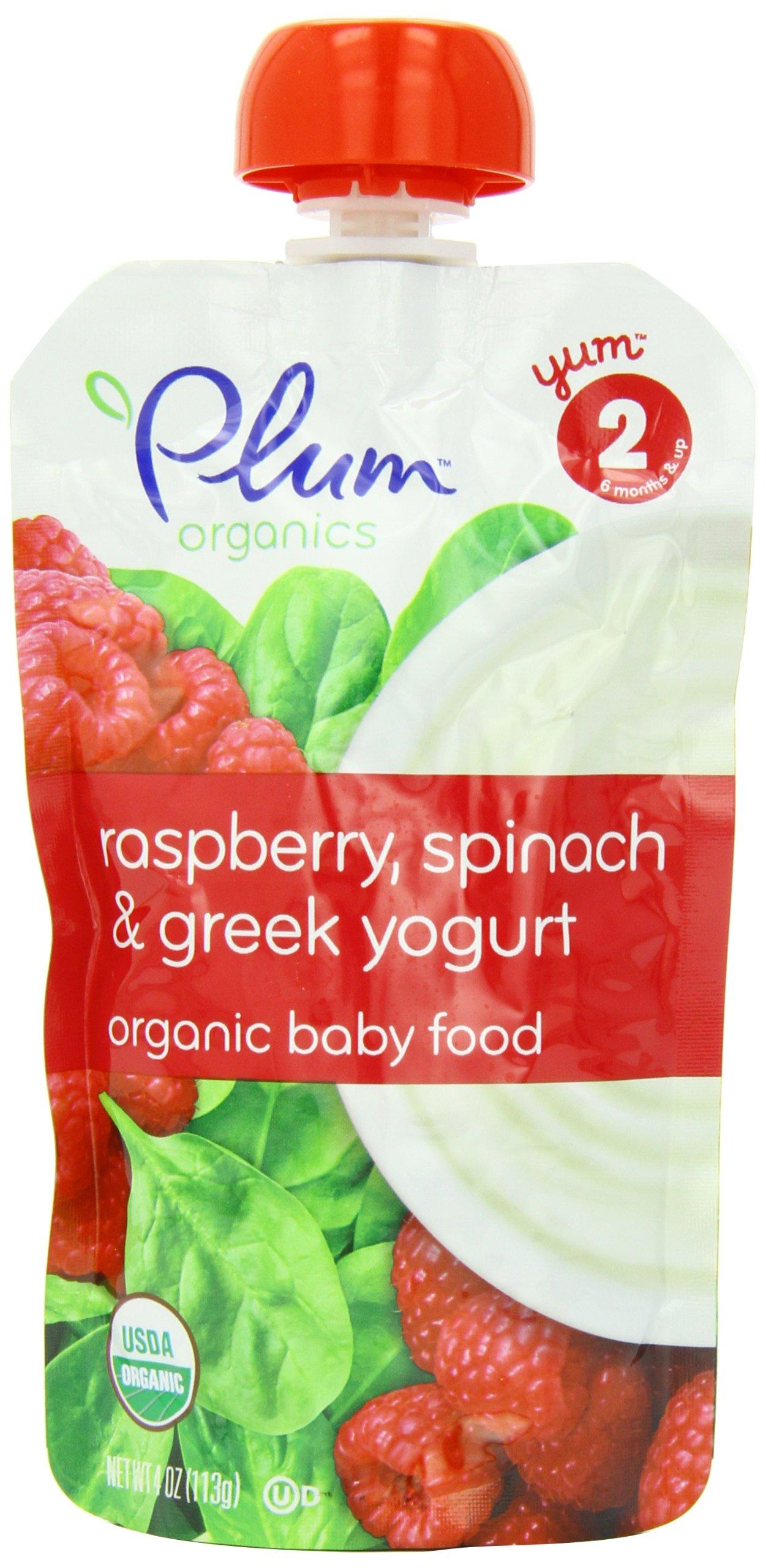 Plum Organics Second Blends, Raspberry, Spinach and Greek Yogurt, 4-Ounce (Pack of 6)