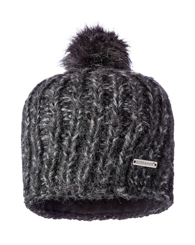 Screamer Madelyn Beanie W Faux Fur Pom, Carbon/Charcoal, One Size
