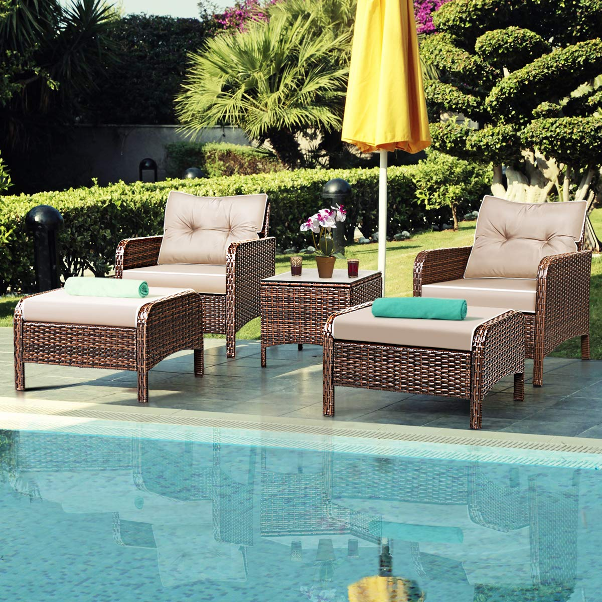 Tangkula Wicker Furniture Set 5 Pieces PE Wicker Rattan Outdoor All Weather Cushioned Sofas and Ottoman Set Lawn Pool Balcony Conversation Set Chat Set by Tangkula (Image #2)