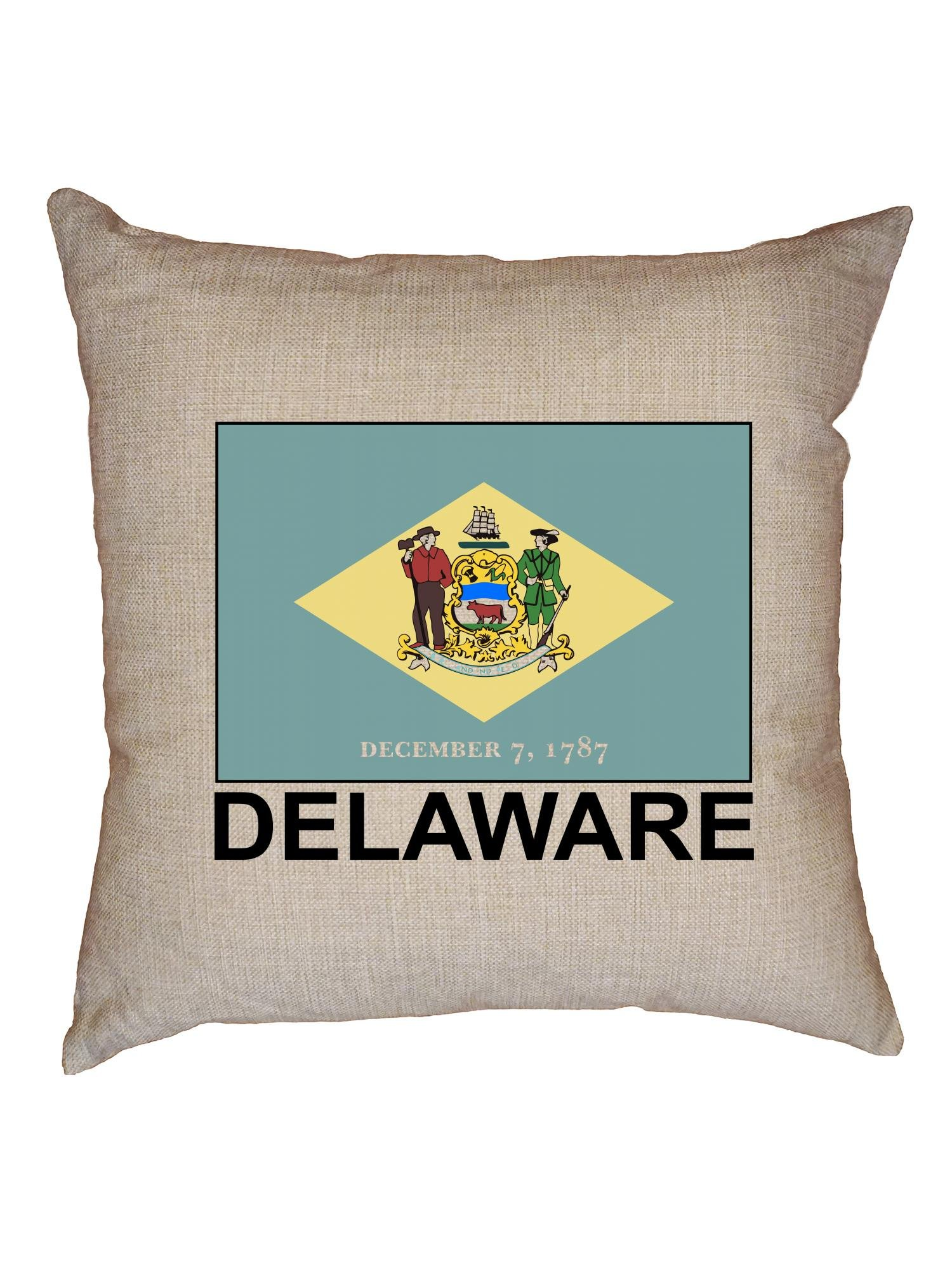 Hollywood Thread Delaware Flag - Special Vintage Edition Decorative Linen Throw Cushion Pillow Case with Insert