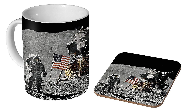 Apollo 11 Mug à café en céramique + dessous-de-verre.