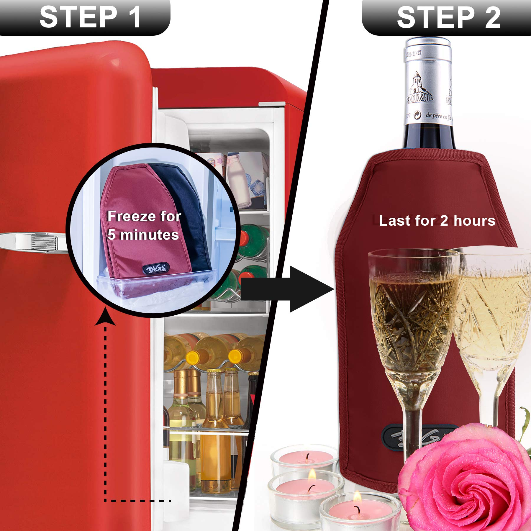Wine Cooler Sleeve With Protector Keep Cool and Chill 2 Hours Up for Luxury Champagne Burt White Red Wine by DOZZZ (Image #7)