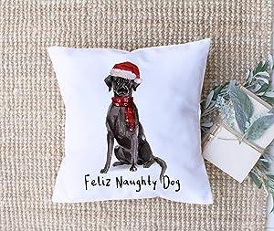Flowershave357 Christmas Dog Pillow Cover Black Lab Christmas Decor Dog Lover Gift Christmas Items