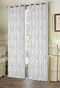 Ellen Tracy Belmare Room Darkening Grommet Window Curtain Panel Pair in Silver