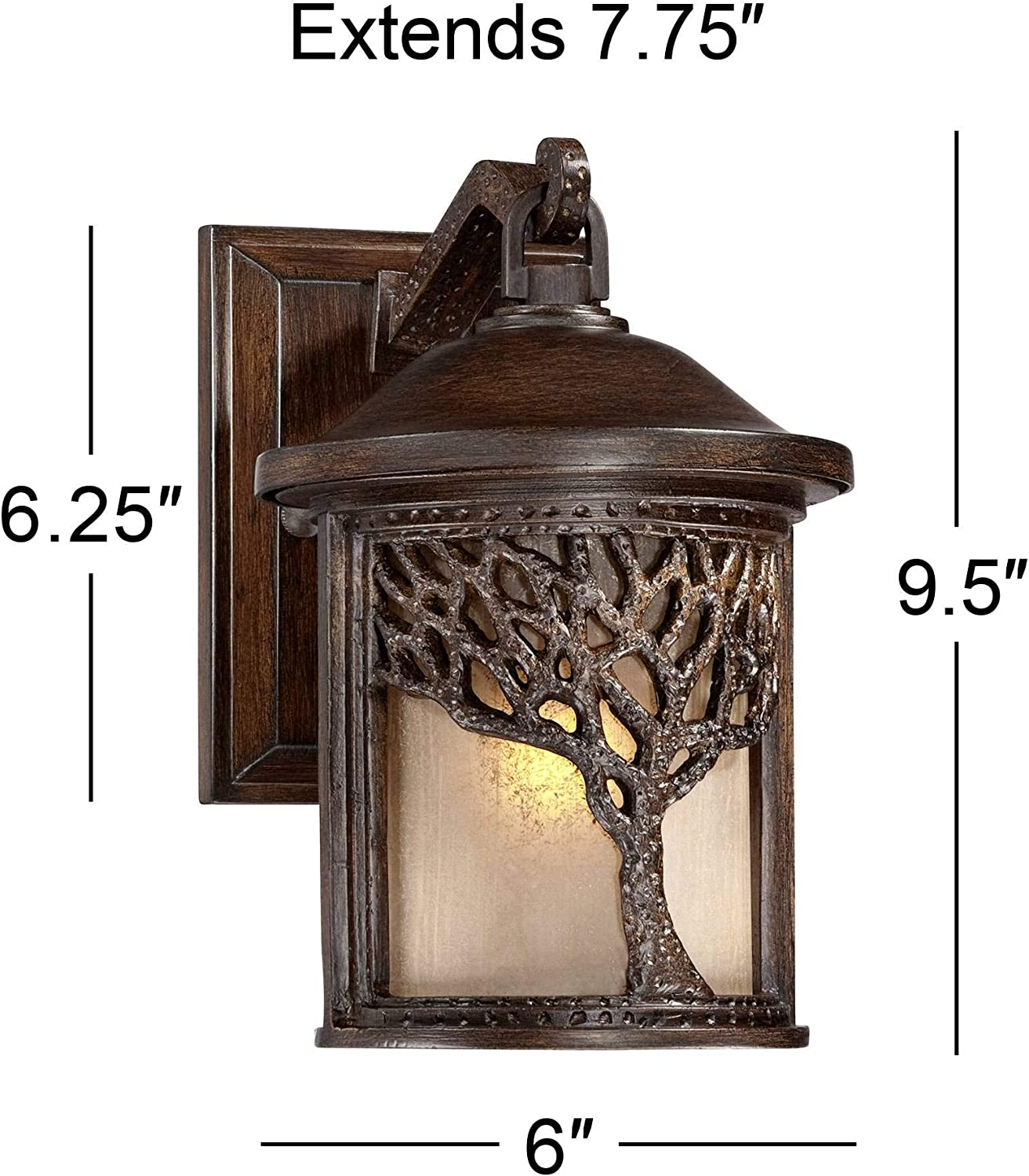 Bronze Mission Style Tree 9 1//2 High Outdoor Wall Light