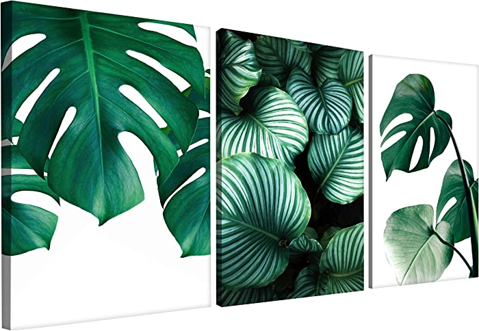 "Osh Decor Tropical Leaf Palm Tree Pictures for Wall Decor 3 Piece 16"" x 24"" Monstera Prints Canvas Wall Art Ready to Hang Green Leaves Bedroom Decor"