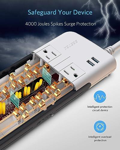 BESTEK 10-Outlet 4000 Joules Surge Protector Power Strip