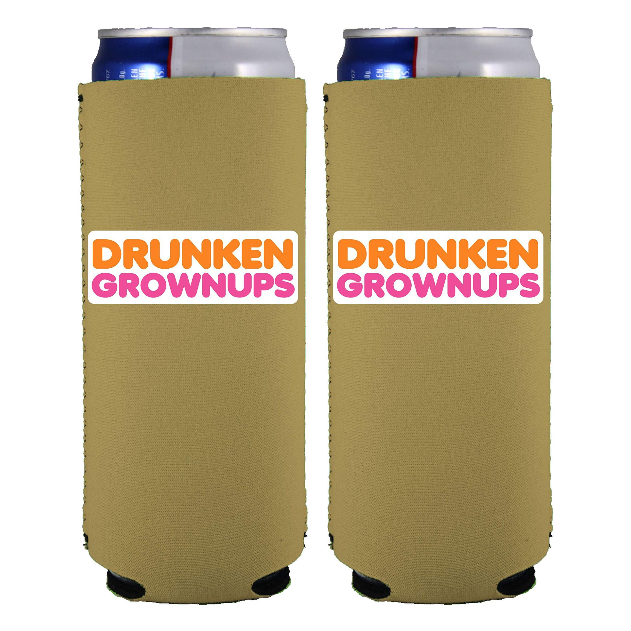 Coolie Junction Drunken Grownups Slim Can Coolie (Khaki, 2 Pack)