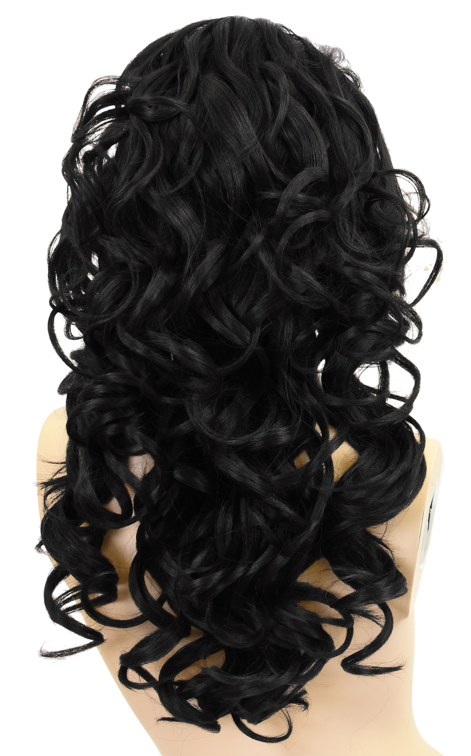 Long Curly Afro Lace Front Wig,African American Beauty Wigs,Synthetic Fiber Natural Looking Wave Hair Wig for Black Women