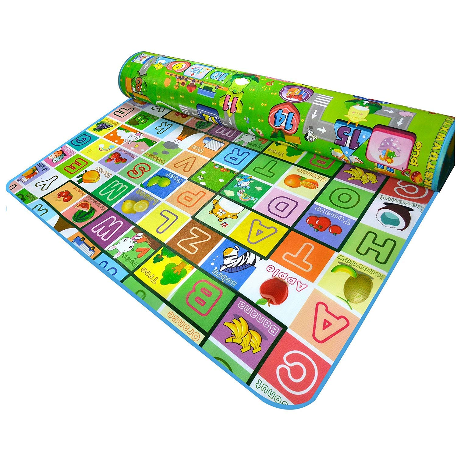 Non-Slip Waterproof Baby Care Mat Kids Play Mat Kids Crawling Pad Kids Playing Mat Kids Game Mat for Indoor Outdoor Use 200X180cm (Fruit Alphabet + Monopoly)